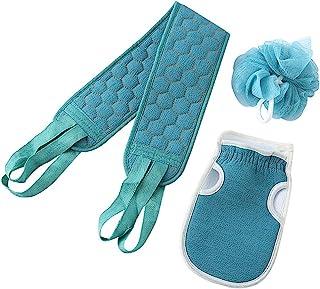 3 件套淋浴淋浴间洗涤器套装 去角质毛巾 沐浴手套 沐浴海绵淋浴丝瓜 深层清洁放松 男女适用(蓝色)