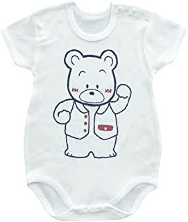 Baby Story 铣刀前后印刷 短袖肩开式连体裤 白色 SP10303 日本制造 白色 90
