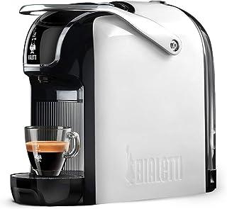 Bialetti New Break 浓缩咖啡机,带胶囊,铝制,带Bialetti系统,紧凑设计,白色