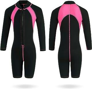 Flexel 2 毫米儿童潜水服长袖儿童全湿套装适合女孩浮潜独木舟游泳课滑水冲浪保暖潜水服适合幼儿青少年短裤