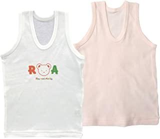 婴儿故事2枚装罗纹纯色 & 刺绣 u领背心 jtp10724日本制造 粉色 90
