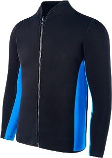 FLEXEL 男式潜水服夹克 2 毫米氯丁橡胶长袖前拉链潜水服上衣适用于潜水浮潜冲浪皮划艇
