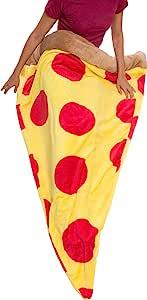 银色 Lilly Pizza 睡袋 - 毛绒抓绒大披萨切片毯,儿童和成人款 Pepperoni 成人 43224-13718