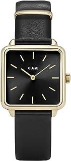 CLUSE La Garçonne 金色黑色黑色 CL60008 女式手表 29 毫米方形表盘皮革表带极简设计休闲连衣裙日式石英优雅时钟
