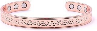 女士铜手链:令人惊叹的铜磁性手链适用于* 6 磁铁独特的花卉设计,通常佩戴用于缓解*和磁性*,小号 5.9 英寸