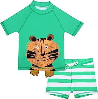 Cadocado 男婴 2 件套泳装幼儿泳装*衣婴儿短裤泳装套装 UPF 50+,3M-6Y