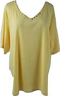 Karen Scott 女式棉质肘袖装饰 V 领上衣柠檬色光环黄色加大码 0X