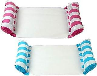 泳池浮吊床,充气湖躺椅,2 件装粉色和蓝色