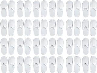 一次性拖鞋 - 24 双闭趾 Spa 拖鞋适合儿童和女士,防滑拖鞋适合*店、家里、客人使用,白色 US Youth Size 5.5 and Women Size 7