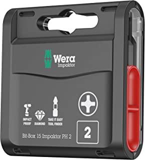 Wera Bit-Box 15 Impaktor PH2 TriTorsion 冲击钻头,防偏心十字槽 2x25mm,15 个装,05057752001(与 897 4 IMP 支架一起使用)