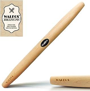 WALFOS 法式擀面团滚筒 用于烘焙披萨面团、馅饼和饼干山毛榉木擀面杖(39.7 cm)