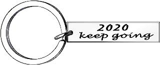 YONGHUI 鼓舞人心的不锈钢钥匙链钥匙圈男女生日圣诞节新年礼物 2020 Keep Going 银色