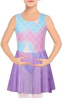 女孩芭蕾舞蹈裙蕾丝短裙紧身连衣裤无袖交叉背芭蕾舞演员服装适合 3-8 岁儿童