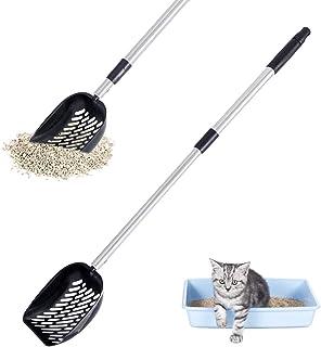 LUFFWELL 金属猫砂铲 – 可拆卸和可调节长柄带深筛铲 – 全不锈钢不粘猫砂筛,无需弯曲,黑色