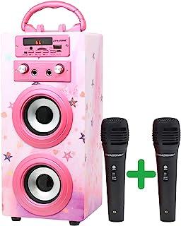 DYNASONIC (*三代) | 便携式卡拉OK蓝牙扬声器,带麦克风| USB 端口和 SD 卡插槽,FM收音机型号025,(粉红色高光)