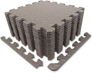 9HORN 运动垫/防护地板垫带 EVA 泡沫联锁砖和边缘,适合健身器材、瑜伽、表面保护