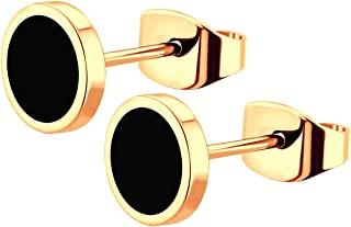 555Jewelry 不锈钢可爱小号圆形纽扣耳环,适合女士和女孩