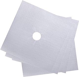 QIMENG-Silver-4 Teflon 煤气灶保护垫、清洁垫、炉灶保护垫、可重复使用燃气灶保护盖、不粘衬里、燃气炉隔热垫