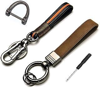 高级皮革代客钥匙扣,手工真皮汽车钥匙扣钥匙圈礼盒(2 件装)