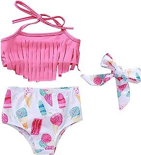 QLIPIN 女婴泳装比基尼套装西瓜流苏蝴蝶结泳衣夏季套装