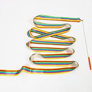 SHOCACA 6 件 - 6.6 英尺体操丝带舞蹈丝带,彩虹飘带旋转指挥棒派对飘带节奏棒,用于天赋展示儿童艺术舞蹈