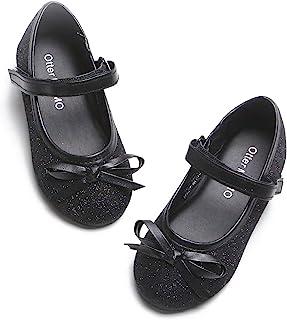Otter MOMO 幼童女童芭蕾平底鞋玛丽珍礼服鞋带蝴蝶结