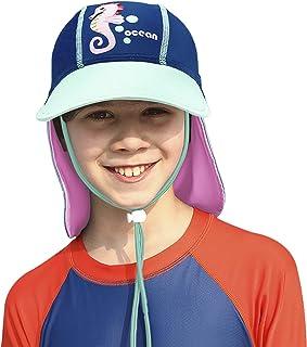 儿童幼儿遮阳帽带颈部翻盖速干泳帽沙滩帽 UPF 50+ UV