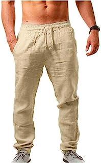 QualityS 男式亚麻裤休闲长裤宽松轻质抽绳瑜伽沙滩休闲长裤