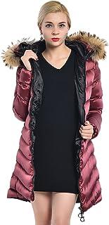 M2C 女士夹棉羽绒服加厚夹克,带人造毛皮帽