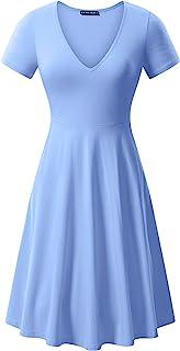 fensace 口袋女式 V 领短袖休闲喇叭 A 字型中长款连衣裙