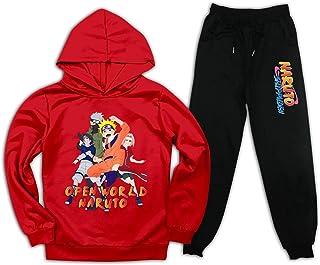 Nar-uto 连帽衫和运动裤 休闲 2 件套套装 儿童运动套装 儿童运动衫 适合女孩 男孩