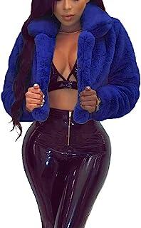 SUCCIOR 女式长袖毛茸翻领人造毛皮外套短款夹克开衫外套