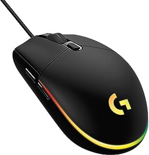Logicool G 游戏鼠标 有线 G203 LIGHTSYNC RGB 6个程序按钮 85克 轻量 G203-BK