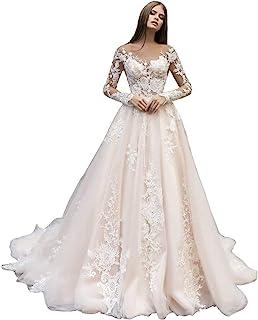 女士蕾丝美人鱼海滩婚纱新娘 2020 带袖新娘礼服长款