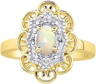 RYLOS 花卉图案戒指 椭圆形宝石和纯正闪亮钻石 14K 黄金镀银 .925-6X4MM 彩色石头诞生石戒指 Opal October