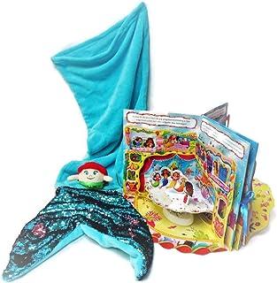 美人鱼捆绑礼物,适合女孩,羊毛尾巴毛毯纸娃娃书,毛绒鱼