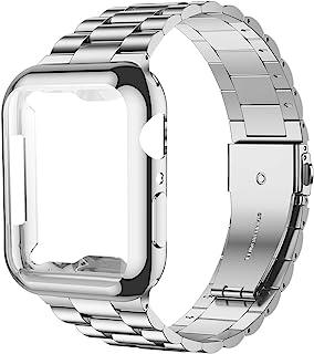 iiteeology 兼容 Apple Watch 表帶 44 毫米 帶屏幕保護殼,[*] 不銹鋼鏈接替換表帶適用于 iWatch 系列 5 4 銀色/銀色