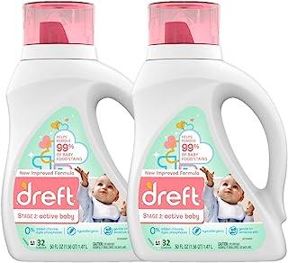 Dreft 阶段2 活性温和性婴儿洗衣液 适用于婴儿、新生儿或幼儿,可用约32次 50 盎司(1.47L)*2桶(包装随机)