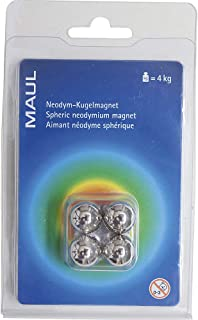 Maul Neodym球磁铁,4千克粘合力,15毫米,浅银色,4件