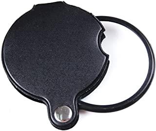 Saflyse 60 毫米 直径 10 倍迷你玻璃镜片 阅读放大镜 玻璃放大镜 带 PU 皮套 - 黑色