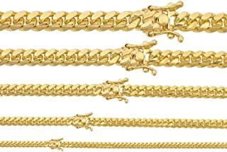 925 纯银 - 14k 镀金 - 迈阿密古巴链条或手链 - 盒锁古巴链 4-10.5 毫米 - 意大利男士项链