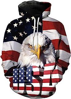 3D 印花美国国旗鹰连帽衫套头运动衫拉链连帽衫