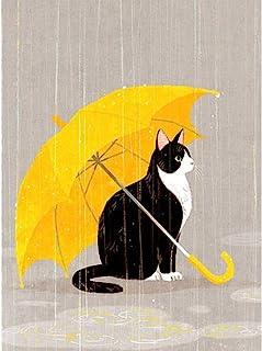 儿童钻石绘画套装,5D DIY 钻石绘画,数字套件适用于家居装饰猫雨伞 11.8 x 15.7 英寸(约 30 x 39.9 厘米) Cenda 出品