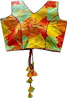 REKHA 女式衬衫纱丽设计师派对服装成衣衬衫纱丽女性设计师印度风格加垫衬衫适用于纱丽露脐 S 043 红色