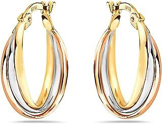 Pori Jewelers 14K 纯 3 色 金 3 排扭结圆形耳环 - 白色、黄色和玫瑰金 - 4.5X21MM