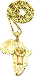 Shiny Jewelers USA 男士 非洲 MAP FIST POWER ANKH CROSS PENDENT (黑色生命亚光)盒子,玫瑰色链项链
