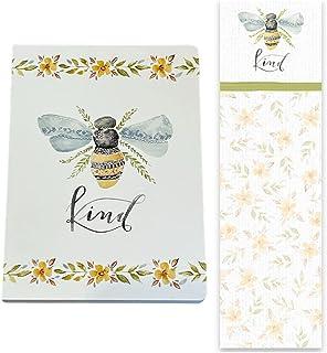 """Bee""""Kind"""" 水彩设计空白衬里日记和磁性列表记事本 2 件文具礼品套装"""