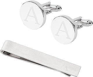 GORGECRAFT 经典袖扣领带夹和领带夹杆套装男式字母首字母袖扣正式商务婚礼