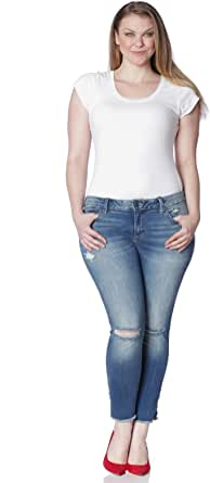 SLINK Jeans 女士加大码侧开衩及踝带磨边牛仔裤