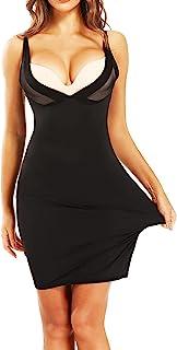 女式全滑裙下装裙吊带背心连衣裙滑动塑身衣深 V 修身塑身衣